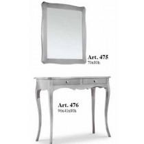 Consolle in legno foglia argento piu' specchio